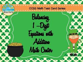 Balancing 1-Digit Equations Math Center (St. Patrick's Day)
