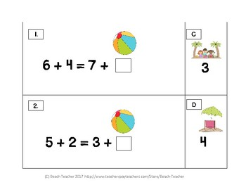 Summer Themed Balancing 1-Digit Equations with Addition Math Center 1.OA.7