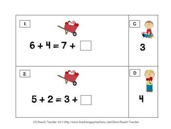 Balancing 1-Digit Equations Math Center (Valentine's Day)