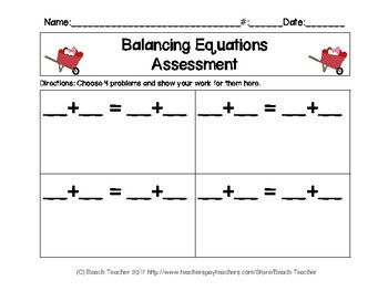 February Themed Balancing 1-Digit Equations Math Center