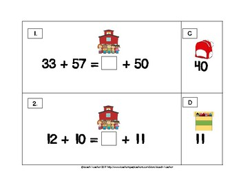 Back to School Themed Balancing 2-Digit Equations Math Center 2.OA.1
