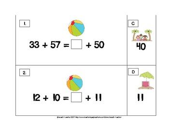 Balancing 2-Digit Equations Math Center (Summer) 2.OA.1