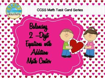 Balancing 2-Digit Equations Math Center (Valentine's Day)