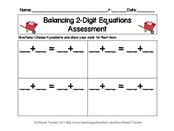 February Themed Balancing 2-Digit Equations Math Center
