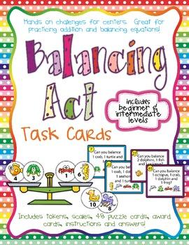 Balancing Act I - Task Cards for Balancing Equations - Add