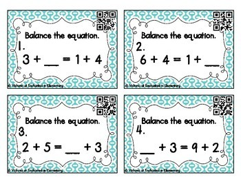 Balancing Addition Equations Task Cards: 1st Gr CC: Properties of Operations