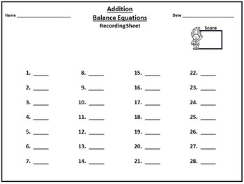 Balance Equations - Addition