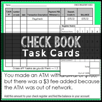 Balancing Checkbook Task Cards