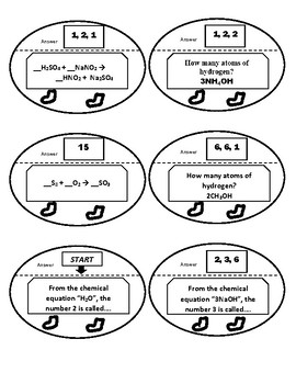 Balancing Chemical Equation Game Puzzle with Worksheet