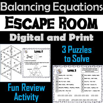 Balancing Chemical Equations Activity: Chemistry Escape Room - Science
