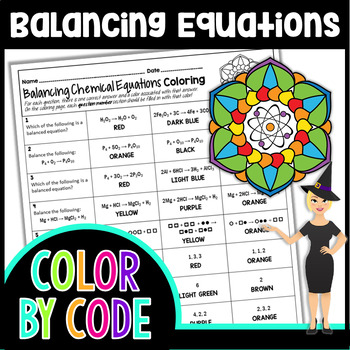 BALANCING CHEMICAL EQUATIONS SCIENCE COLOR BY NUMBER, QUIZ ...