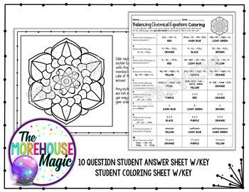 Balancing Chemical Equations Science Color By Number Quiz 1 Tpt