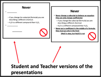 Balancing Chemical Equations Lesson - Chemistry PowerPoint Lesson and Notes
