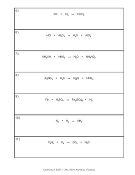 Balancing Chemical Equations - Practice Problems