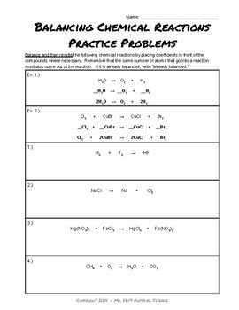 Balancing Chemical Equations Problems