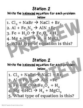 Balancing Chemical Equations Practice Stations