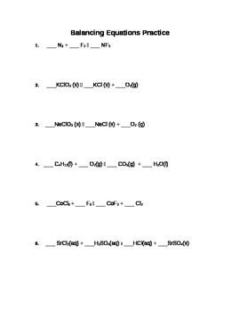 Balancing Chemical Equations Practice Worksheet by vicki snodgrass