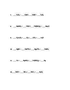 Balancing Chemical Equations Practice Worksheet by vicki snodgrass