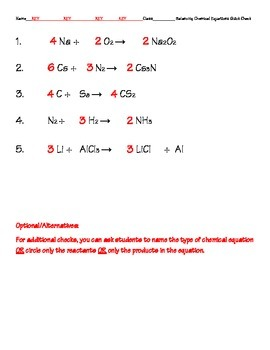 Balancing Chemical Equations Quick Check with Key