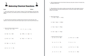Balancing Chemical Equations Reactions
