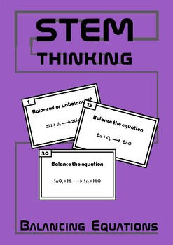 Balancing Chemical Equations Task Cards Middle School Chemistry