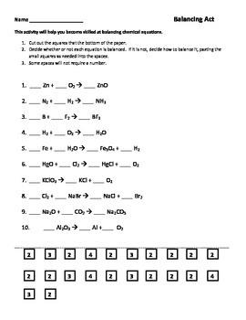 Balancing Chemical Equations Worksheets | Teachers Pay Teachers