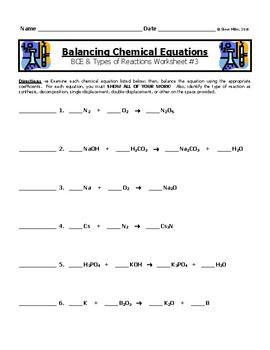 worksheet. Writing And Balancing Chemical Equations Worksheet ...