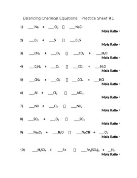 Balancing Chemical Equations Worksheet by wwwteachphysicalsciencecom