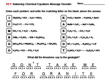 Balancing Chemical Equations Worksheet: Chemistry Message Decoder