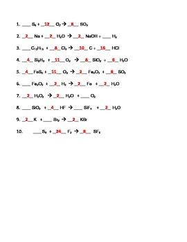 Balancing Chemical Equations Worksheets (Combo)
