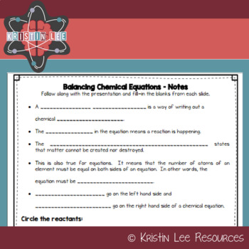 Balancing Chemical Equations w/ Notes {NGSS Aligned}