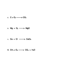 Balancing Chemical Reactions Common Core Activity