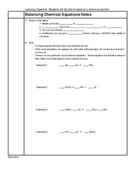 Balancing Chemical Reactions Notes HS-PS1-7