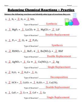 Balancing Chemical Reactions Worksheets Teachers Pay Teachers