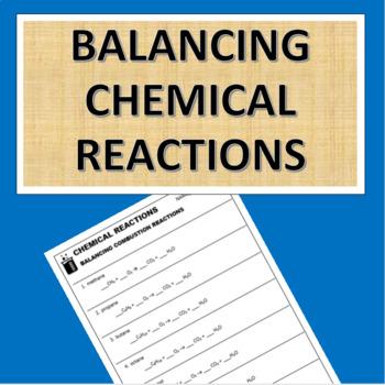 Balancing Chemical Reactions Worksheet