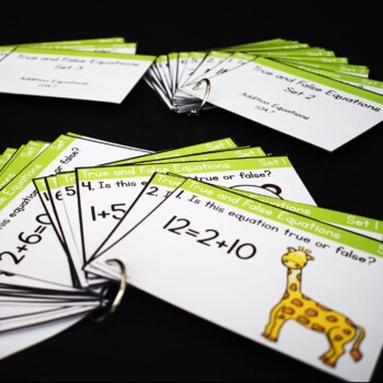 Balancing Addition and Subtraction Equations First Grade Task Cards- 1.OA.D7