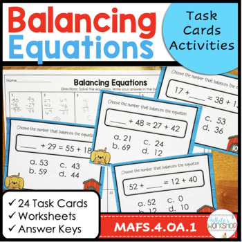 Balancing Equations Task Cards and Assessments