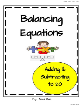 Balancing Equations to 20 Resource Pack