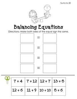 Balancing Equations: Addition Pack