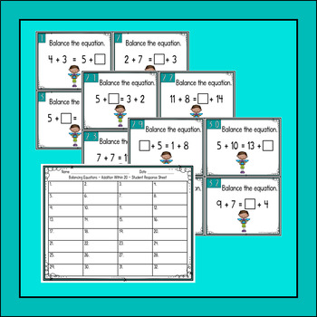 Balancing Equations Addition Within 20 Task Cards