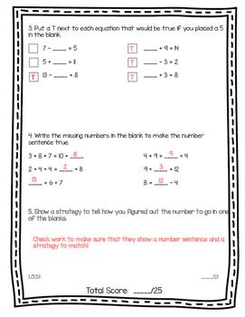 Balancing Equations Assessment 1.OA.7 and 1.OA.8