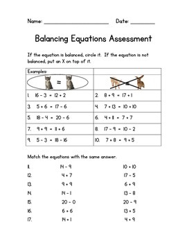 Balancing Equations Assessment with Missing Addends