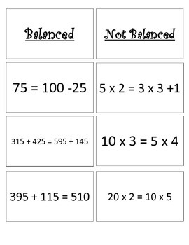 Balancing Equations Card Sort: Addition, Subtraction, and Multiplication