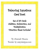 Balancing Equations Card Sort: Addition, Subtraction, and