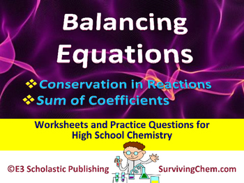 Balancing Equations & Conservation of Atoms - Worksheets &