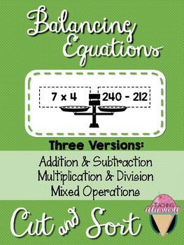 Balancing Equations Cut & Sort