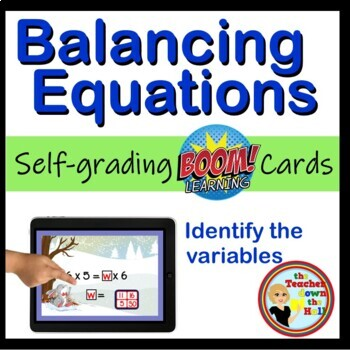 Balancing Equations Digital Practice BOOM Cards - 24 Self-checking cards!