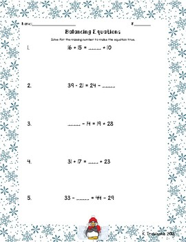 Balancing Equations/ Equal or Not Equal Practice