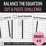 Balance the Equation - Equivalent Number Sentence Cut & Paste Challenge