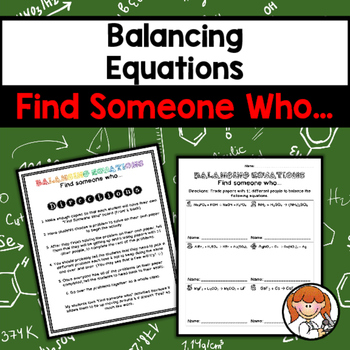 Balancing Equations Find Someone Who